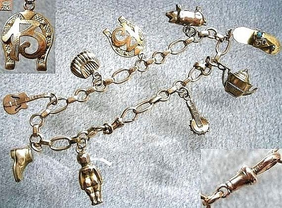 Vintage 9ct Yellow Gold Charm Bracelet with Nine Charms, Includes Three 9ct Gold Charms and One 18ct Italian Gold Charm c.1950's (ref: 3153)
