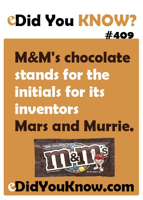 M&M's chocolate stands for the initials for its inventors Mars and Murrie. http://edidyouknow.com/did-you-know-409/