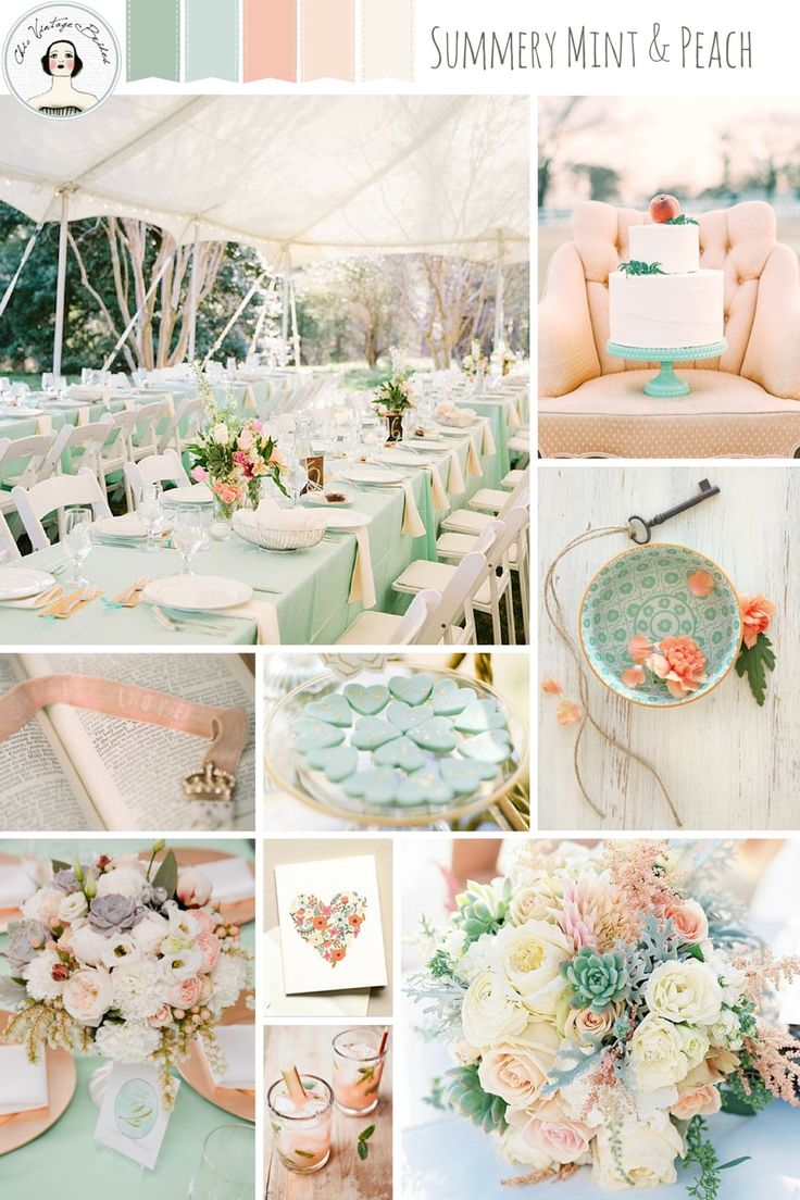 A Romantic Mint U0026 Peach Wedding Inspiration Board