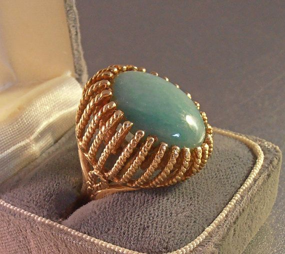 14K Jade Statement Ring Cocktail Dome Basket Setting 16