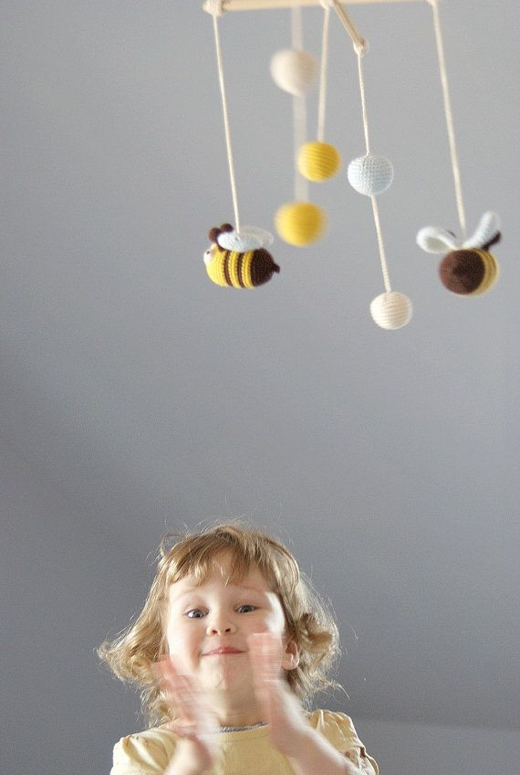 Baby Mobile - Bee Mobile - Crochet Hanging Crib Mobile  - Kids room decoration via Etsy