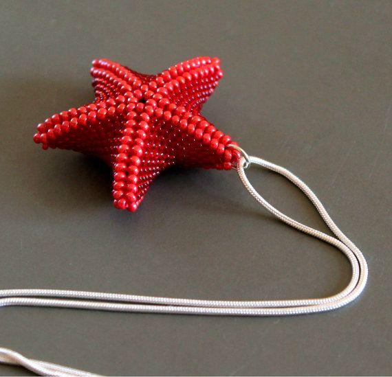 Collar estrella de mar roja de abalorios, Colgante estrella de mar, Collar de abalorios rojos, Bisutería de abalorios, Estrella de mar roja