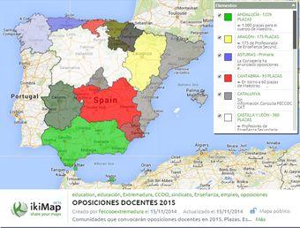 MAPA INTERACTIVO: Oposiciones docentes 2015 al día