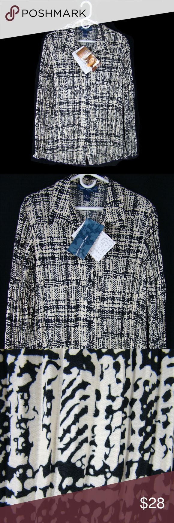 """New  Susan Graver Broomstick Houndstooth Shirt XL Susan Graver blouse in a black and white modern houndstooth print with a broomstick treatment that allows it to flow comfortably over curves Relaxed fit, point collar, buttoned front, long sleeves. Machine wash, twist dry. New with tags.  Care - Machine wash, twist dry.      Shoulder - 18.5""""     Bust - 48 stretches to about 54""""     Hem - 56""""     Length - 28.5"""" (base of collar band down back)     Sleeve - 25"""" Susan Graver Tops"""