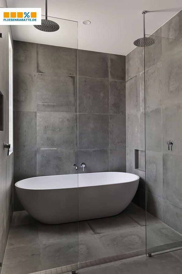 Concrete Style With 60x60cm Tiles 60x60cm Concrete Style Tiles In 2020 Betonoptik Kleines Bad Dekorieren Badezimmer Dekor Diy