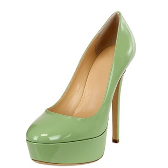 72.00$  Buy now - http://ali6o0.worldwells.pw/go.php?t=32465206136 - New Basic Women Pumps Patent Leather Round Toe Platform Size 4 CM Thin High Heels Shallow Summer For Party Ladies Shoes