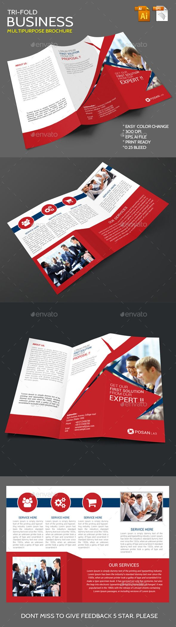 Business Corporate Trifold Brochure Template #brochure #design Download: http://graphicriver.net/item/business-corporate-trifold-brochure/11449145?ref=ksioks