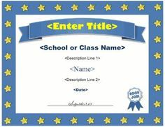 Blank certificate template 25 pinterest award certificate template with a star border and award ribbon graphic the title and description fields are blank to allow the certificate to be used to yelopaper Image collections