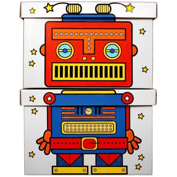 Boites rangement enfants Robot  à colorier
