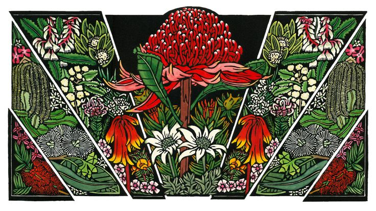 Blue Mountains Wildlfowers'http://lynetteweir.com/blue-mountains-wildflowersaustralian-linocut-artist/  Limited Edition Handcoloured Linocut by Lynette Weir © copyright Lynette Weir