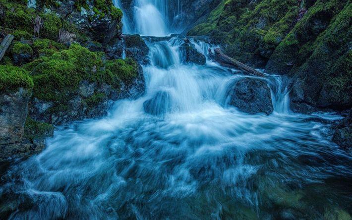 Télécharger fonds d'écran chute d'eau, la roche, le ruisseau de la montagne, des paysages magnifiques, soirée