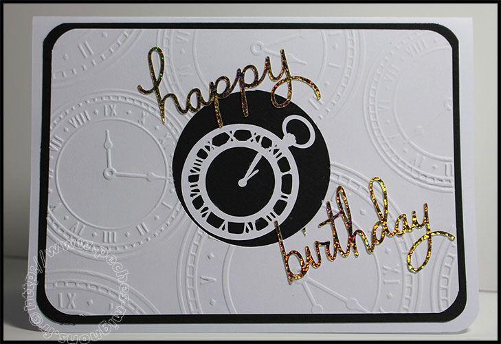Carte Scrap #146 - Happy Birthday - Joyeux Anniversaire - Noir et blanc