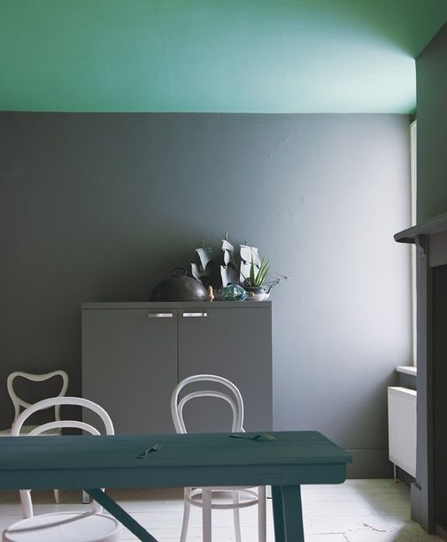 New Farrow & Ball paint colours: ceiling - Arsenic, wall - Plummett by rhonda I might do this w/Chinese Blue & Brinjal in the new office room