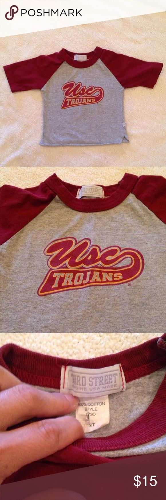 USC Trojans Tee Adorable USC Trojans Tee. Vented sides. Excellent condition. Size 2T but I believe runs small. Better for 12-24 month old. Pet free smoke free home only washed with tide free. Unique and adorable tee. Purchased at the old USC store at south coast plaza. Shirts & Tops