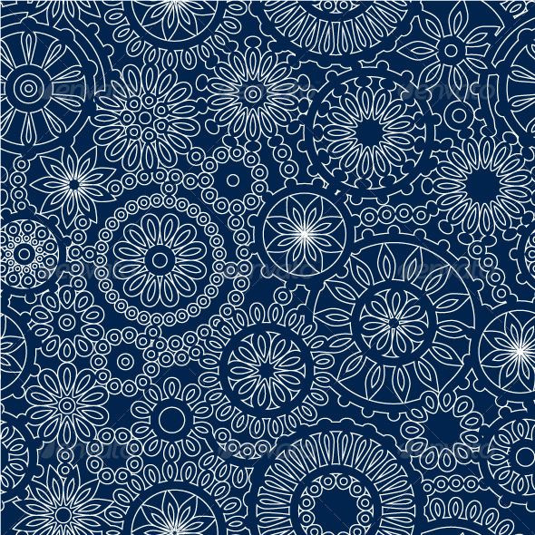 White Lace Flowers on Dark Blue Seamless Pattern — Vector
