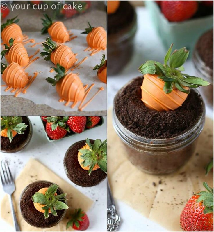 "strawberry transfer to ""carrot"" For easter day food idea"