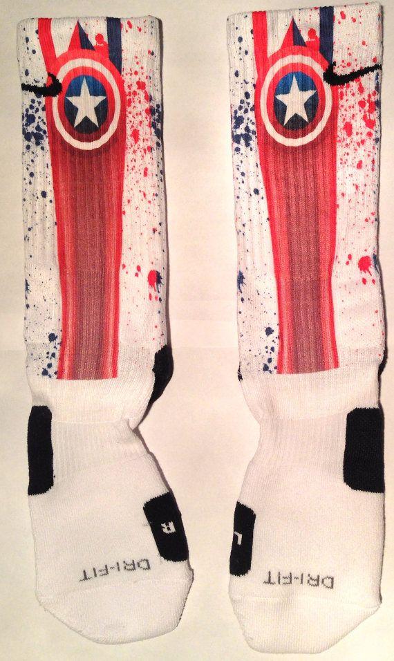 Captain America Inspired Custom Nike Elite Socks