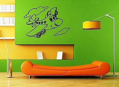 Wall Sticker Vinyl Decal Nursery for Kids Baby Airplane Unique Gift ig1283