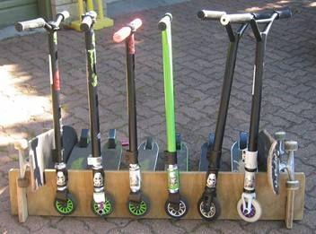 Scooter stand for 6 scooters & 2 skateboards