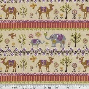 """Elephant & Camel Stripe - Tan    This long journey just wouldn't be complete without an elephan and a camel! This print is dusted with a bit of glittery sparkle, just for fun!    This quilting weight Japanese fabric is 100% cotton and is 43/44"""" wide. Price per yard."""