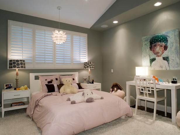 Love this design? Make it yours. Our best room looks are now shoppable...just browse and click to buy --> http://hg.tv/u1qi: Decor, Wall Color, Teens Girls Bedrooms, Design, Gray Wall, Girls Rooms, Bedrooms Ideas, Girl Rooms, Kids Rooms
