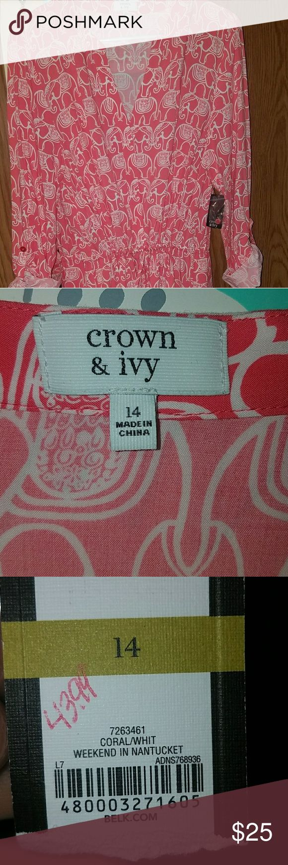 NWT Crown & Ivy Weekend In Nantucket dress Cute summer dress, size 14, stops around knee. Coral and white elephant pattern. Roll up sleeve with button, cinched waist. Price negotiable, feel free to offer. crown & ivy Dresses Long Sleeve