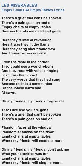 Empty Chairs at Empty Tables lyrics Les Misrables Pinterest