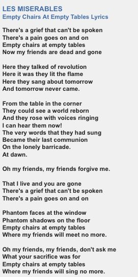"""Empty Chairs at Empty Tables"" lyrics."