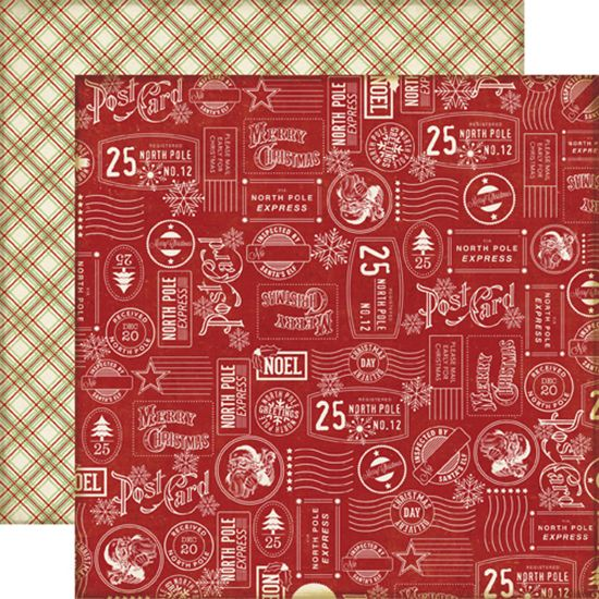 Echo Park - Reflections Collection - Christmas - 12 x 12 Double Sided Paper - Christmas Stamps at Scrapbook.com