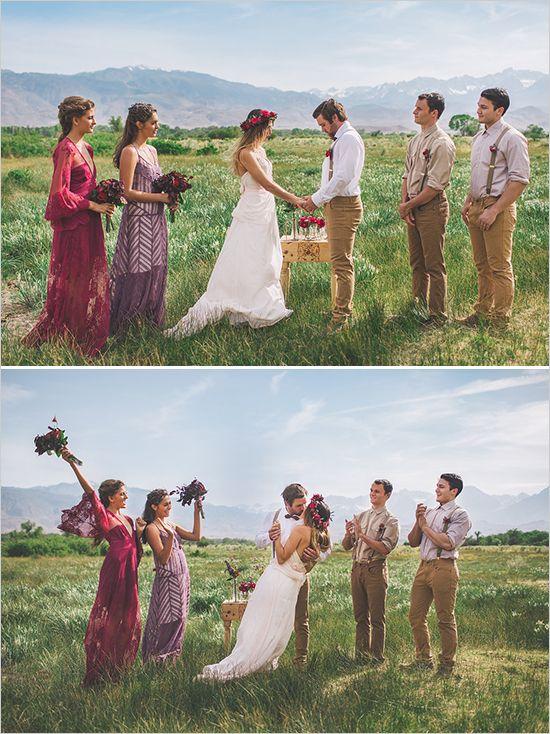 outdoor wedding ceremony Claire La Faye wedding dress www.clairelafaye.com