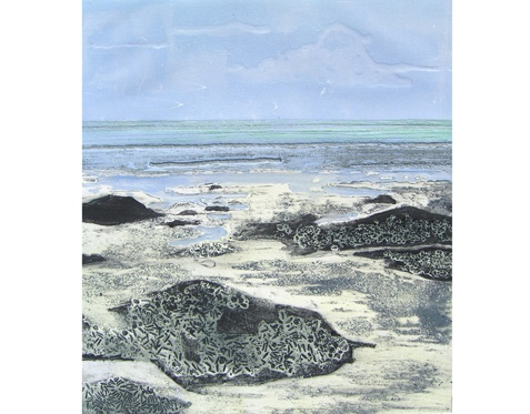 Rigg Bay VII by Jennifer Smith    Collagraph original print from an edition of 8. This print comes mounted.    Dimensions: image 37cm x 33.5cm, mounted 55.5cm x 51.5cm    Available from Spring Fling webshop.  £80.00