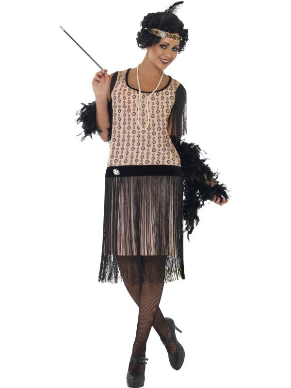 Flapper Girl Outfit Step Back In Time With Our Fabulous Flapper Girl Outfit, Which Features An Elegant Black And Pink Dress That Looks Very Realistic. Unlike Many 20s Costumes, Accessories Such As The Cigarette Holder And Necklace Are Included With This Fun Fancy Dress Idea. Size : Medium / Uk Dress 12-14 - Adult Fancy Dress - 20's Razzle - 1920s Coco Flapper Costume - UK Dress 12-14 - Online-Fancy-Dress USA - (Powered by CubeCart)