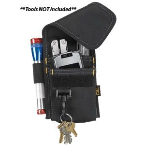 CLC 1104 4 POCKET TOOL HOLDER. CLC 1104 4 POCKET MULTI-PURPOSE TOOL HOLDERThis 4-pocket tool and small cell phone holder includes a small flashlight sleeve, a hook for your key ring, a hook-and-loop flap closure, and versatile 3-way attachment to your belt, suspenders, pants, etc.FeaturesMade of polyester fabric Versatile 3-way attachment for pants, web suspenders, work aprons, etc Securely holds small tools or accessories like pliers, mini-flashlights, screwdrivers...