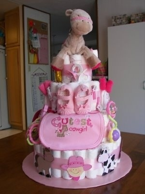 Diaper cake for baby shower.