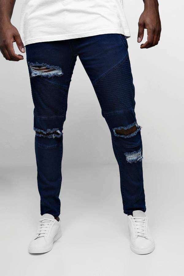 b44bd32d boohoo Big & Tall Skinny Fit Ripped Biker Jeans   Big guy outfits ...