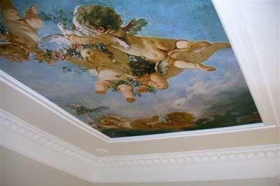 Kunst behang is ook geschikt voor aan het plafond !