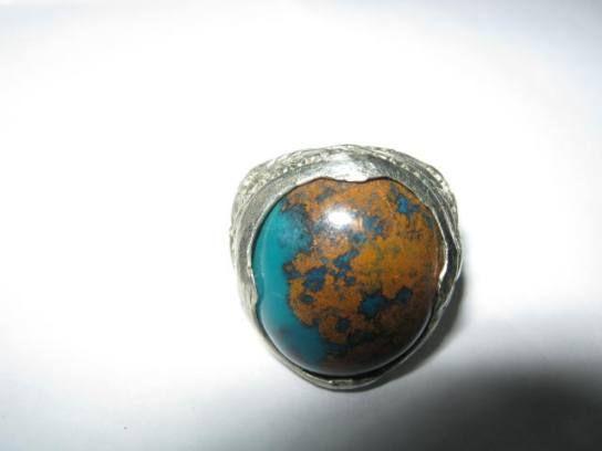 Cincin Batu Bacan Biru Coklat