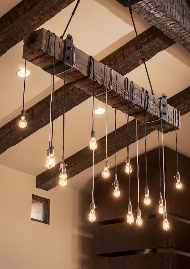 Rustic Industrial Island Light Houzz. www.remodelworks.com: Decor, Lights Fixtures, Rustic Lights, Industrial Lights, Edison Bulbs, House, Lights Ideas, Design, Woods Beams