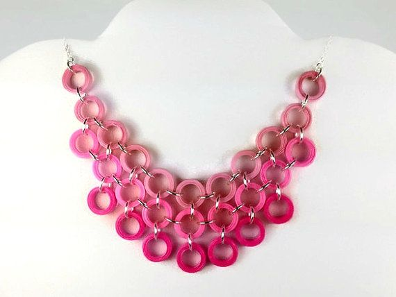 Paper Quilled Pink Bib Necklace - pink statement necklace, pink necklace, paper anniversary, 1st anniversary, collar necklace, paper jewelry https://www.sweetheartsandcrafts.com/product/pink-ombre-necklace-bib-necklace