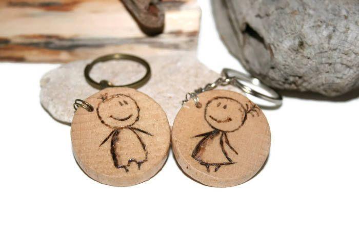 Couples keychain set, wooden keychain set, wood burned keychain, custom keyring, Personalized, custom gift, Initials Keyring, cute charm
