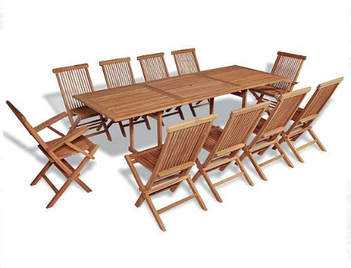 11Piece Teak Dining Set Garden Outdoor Large Table & 10 Folding Chairs Furniture #AnselfDealsMarket