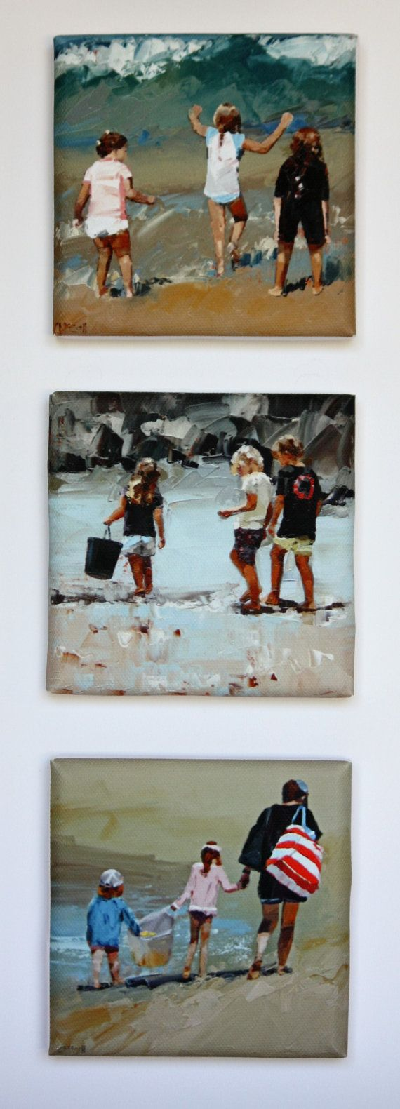 Tiny Canvas Trio  Beach Art  Canvas Prints  by ClaireMcCallArt