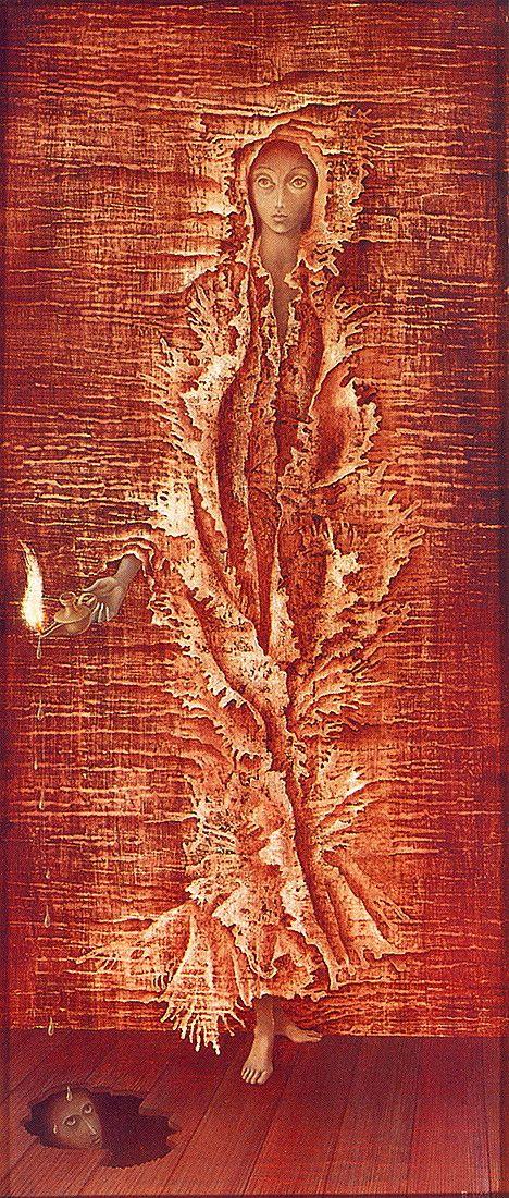 Remedios Varo, Luz Emergente, 1962. Oil on masonite.