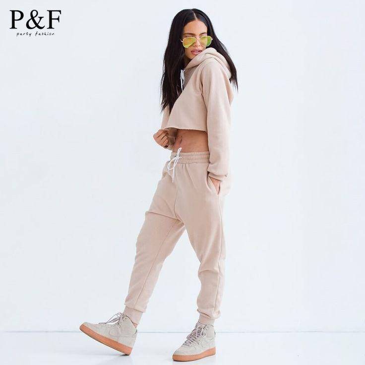 Autum&winter Sports Clothing Female Jumpsuit 2 Piece Set Crop Top Long Sleeve Loose casual Jumpsuit Women Bodysuit 5 colors