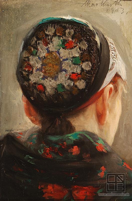 Maximilián Kurth - Study of a woman in a headdress / Štúdia hlavy ženy v čepci (1903)
