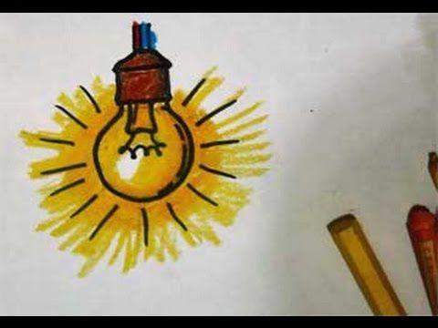 cara menggambar bola lampu