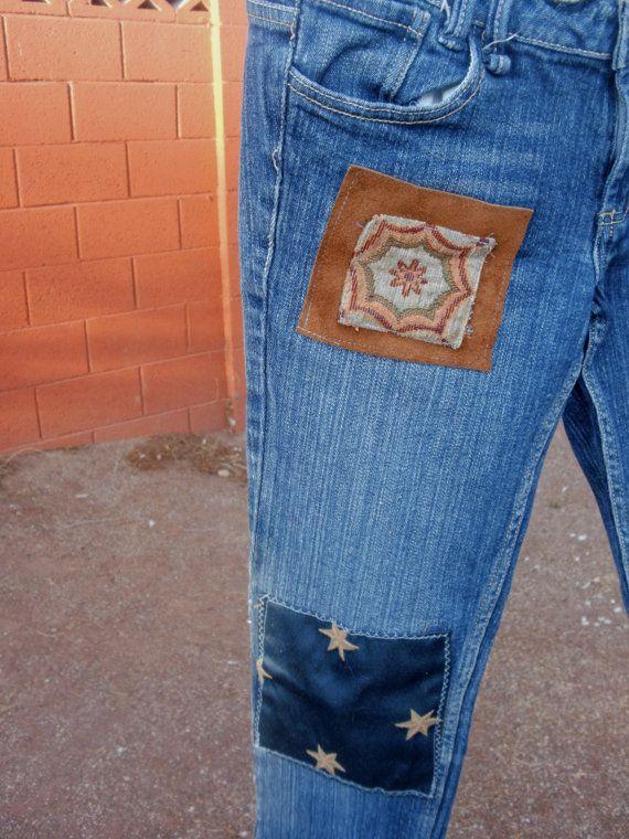 Bohemio parcheado Jeans para la temporada navideña