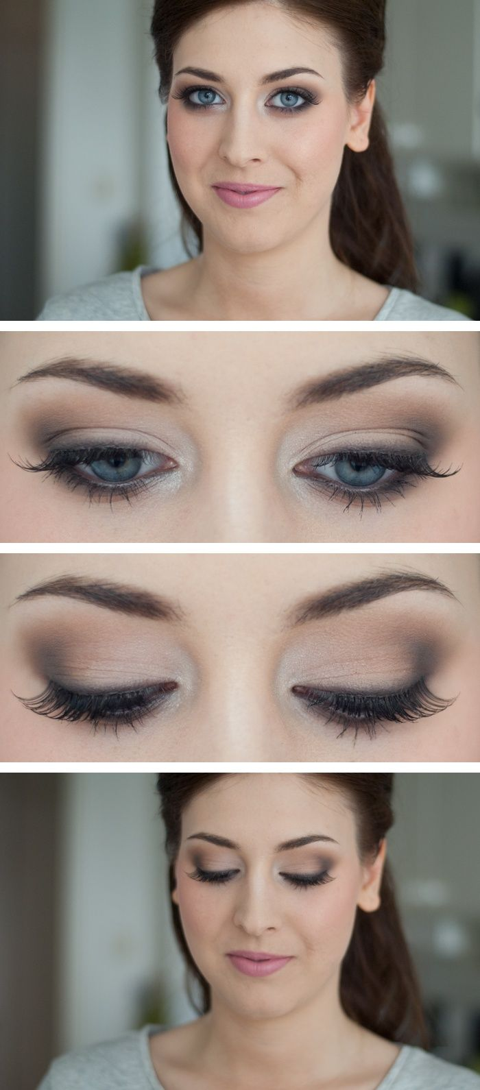 natural, eye makeup, lashes, eye shadow, blue eyes- very similar looking to