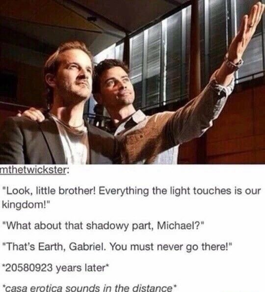 hahahahahahahaha #Supernatural || Angel Michael aka Matt Cohen || Angel Gabriel aka Richard Speight, Jr.