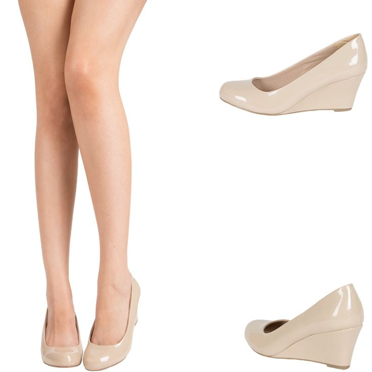 NUDE-PATENT-LEATHER-ROUND-CLOSED-TOE-MED-LOW-WEDGE-HEEL-WOMENS-PUMP-SANDAL-SHOES
